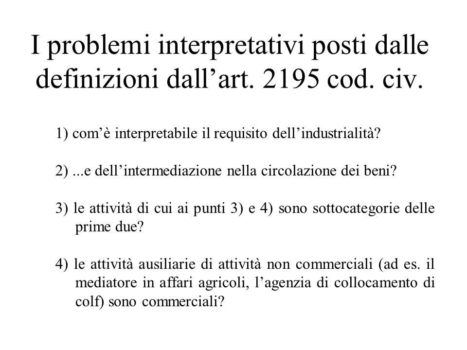 I problemi interpretativi posti dalle definizioni dall'art. 2195 cod