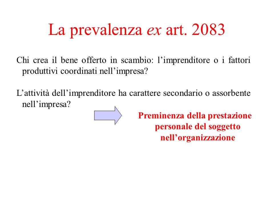 La prevalenza ex art. 2083 Chi crea il bene offerto in scambio: l'imprenditore o i fattori produttivi coordinati nell'impresa