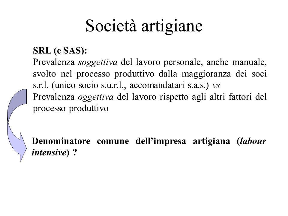 Società artigiane SRL (e SAS):