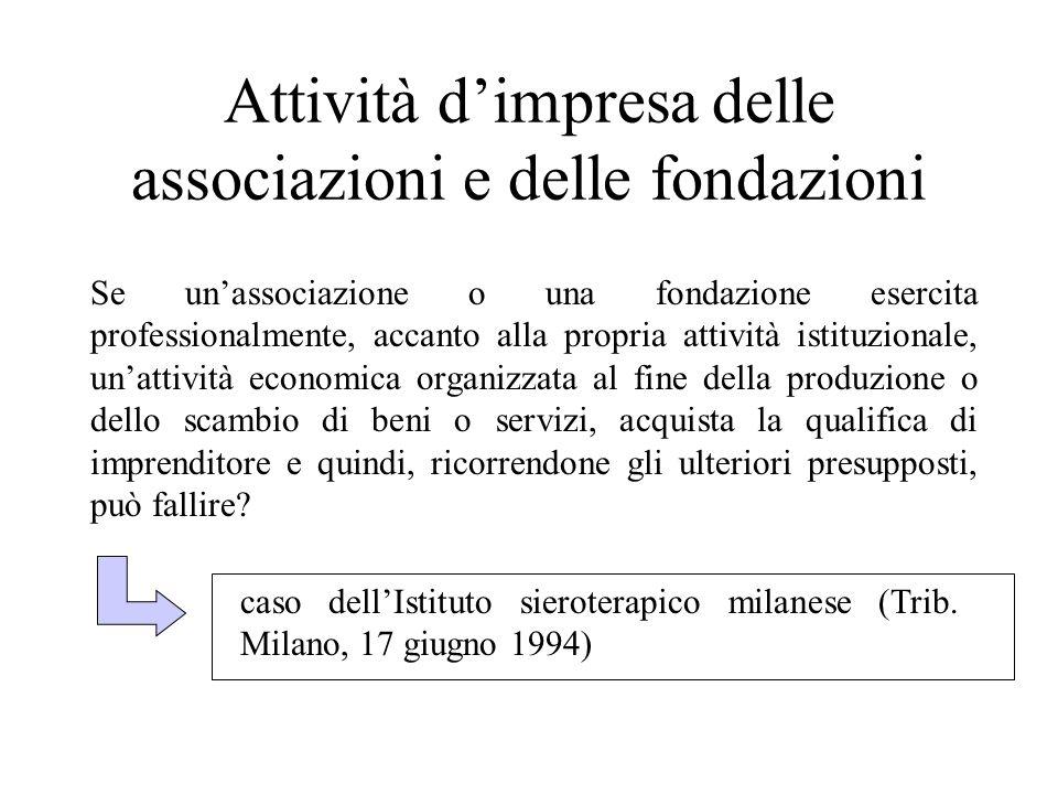 Attività d'impresa delle associazioni e delle fondazioni