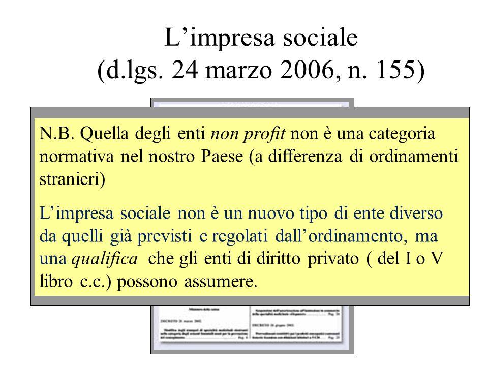 L'impresa sociale (d.lgs. 24 marzo 2006, n. 155)