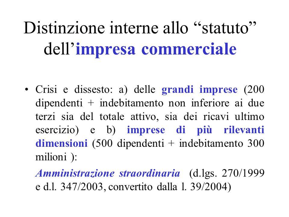 Distinzione interne allo statuto dell'impresa commerciale