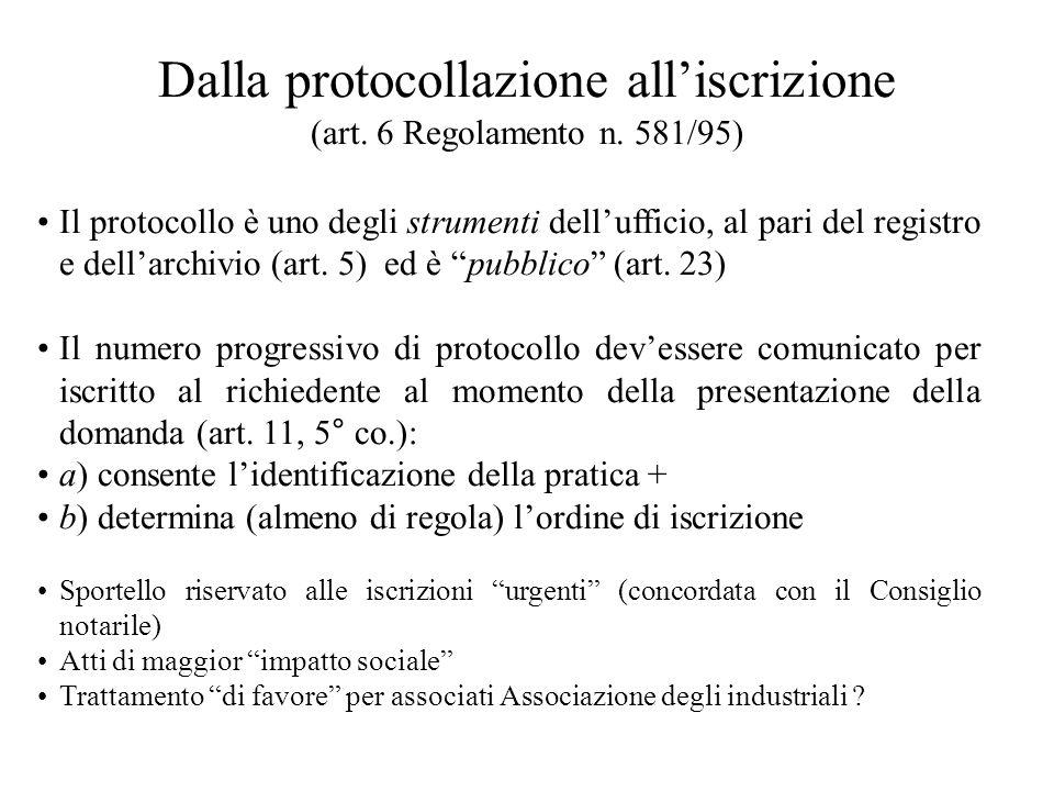 Dalla protocollazione all'iscrizione (art. 6 Regolamento n. 581/95)