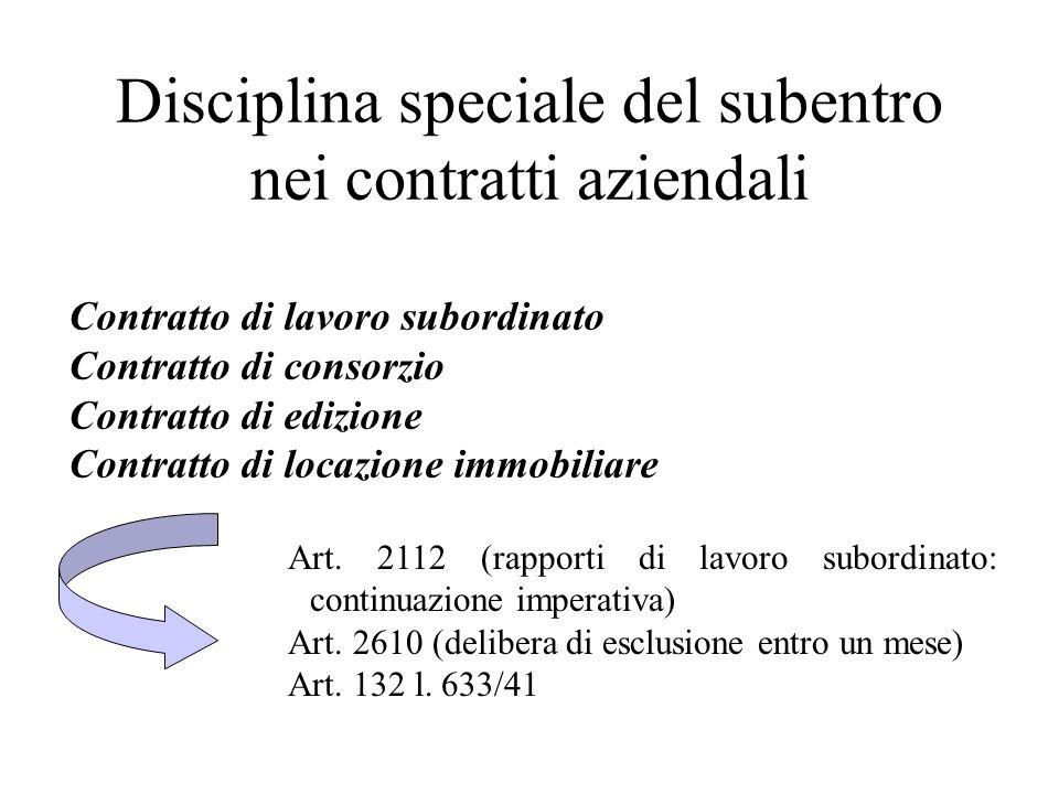 Disciplina speciale del subentro nei contratti aziendali