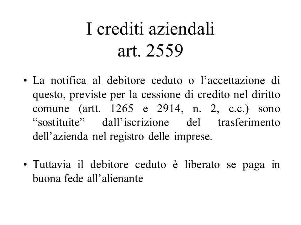 I crediti aziendali art. 2559