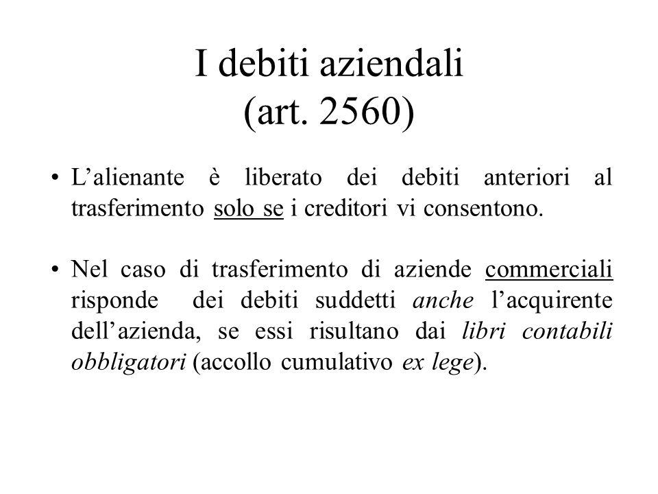 I debiti aziendali (art. 2560)
