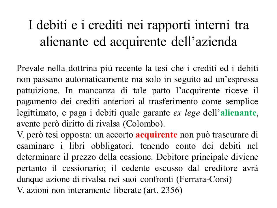I debiti e i crediti nei rapporti interni tra alienante ed acquirente dell'azienda