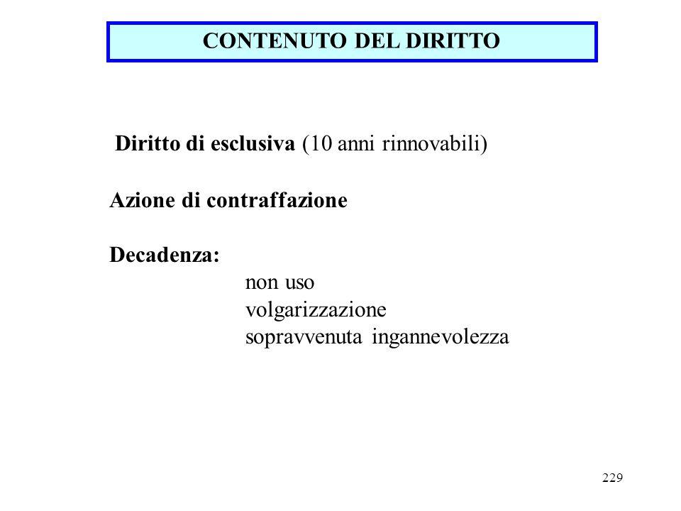 CONTENUTO DEL DIRITTO Diritto di esclusiva (10 anni rinnovabili) Azione di contraffazione. Decadenza: