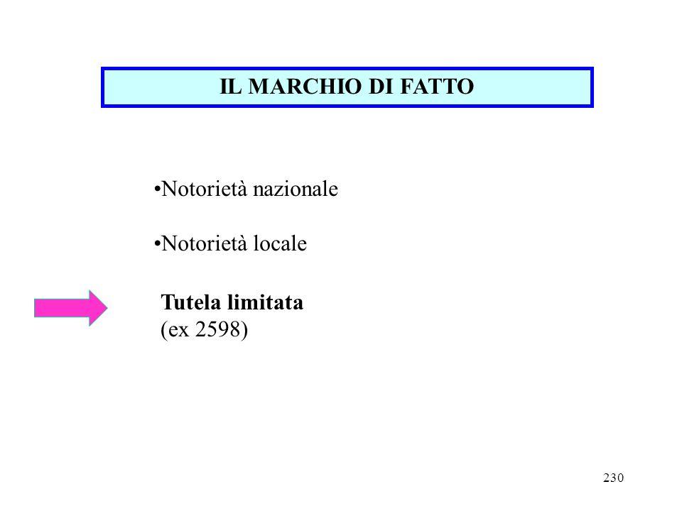 IL MARCHIO DI FATTO Notorietà nazionale Notorietà locale Tutela limitata (ex 2598)