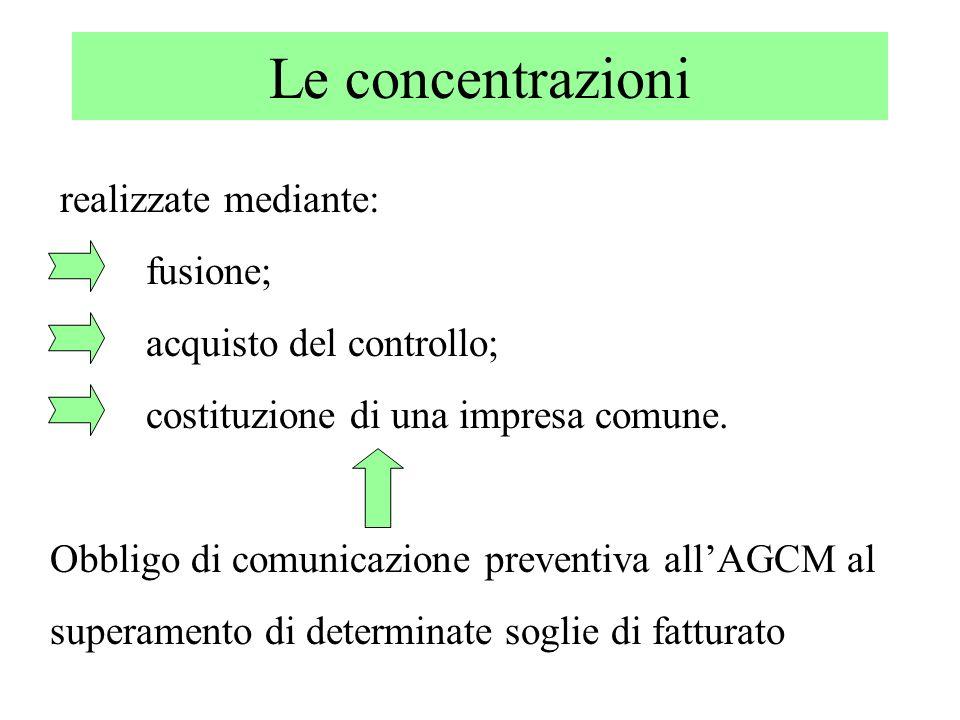 Le concentrazioni realizzate mediante: fusione;