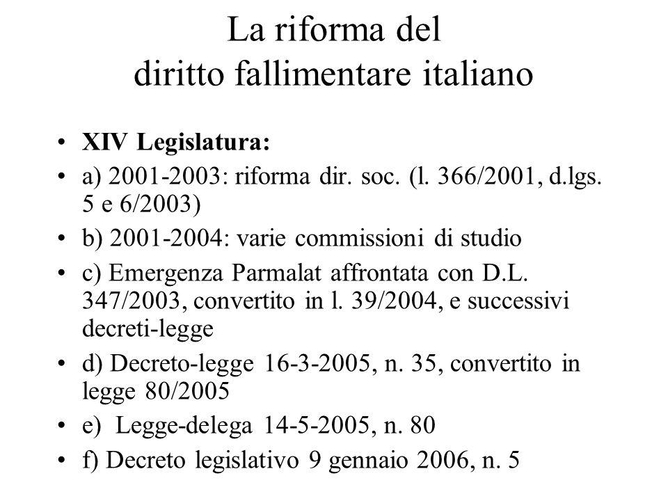 La riforma del diritto fallimentare italiano