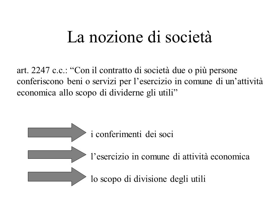 La nozione di società art. 2247 c.c.: Con il contratto di società due o più persone.
