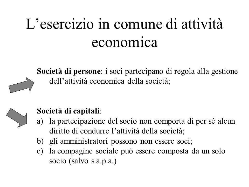 L'esercizio in comune di attività economica