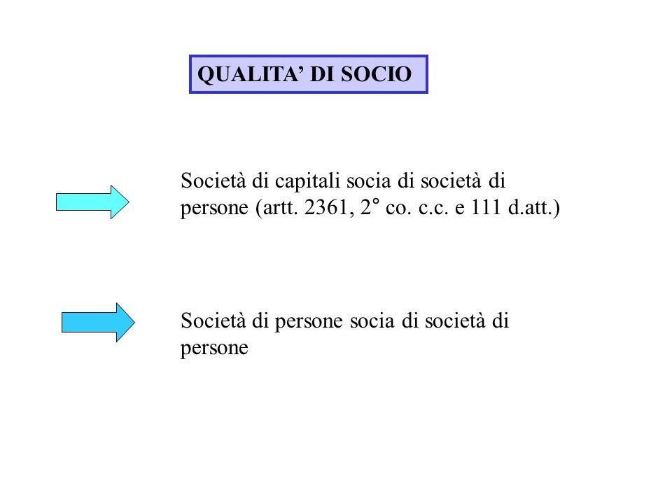 QUALITA' DI SOCIO Società di capitali socia di società di persone (artt. 2361, 2° co. c.c. e 111 d.att.)