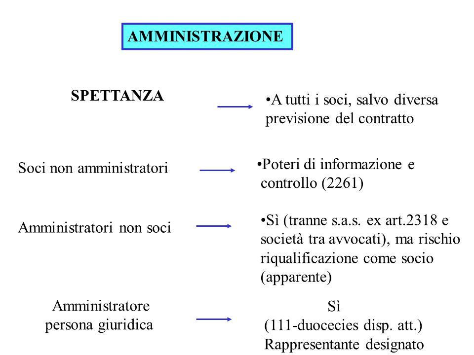 AMMINISTRAZIONE SPETTANZA. A tutti i soci, salvo diversa previsione del contratto. Poteri di informazione e controllo (2261)