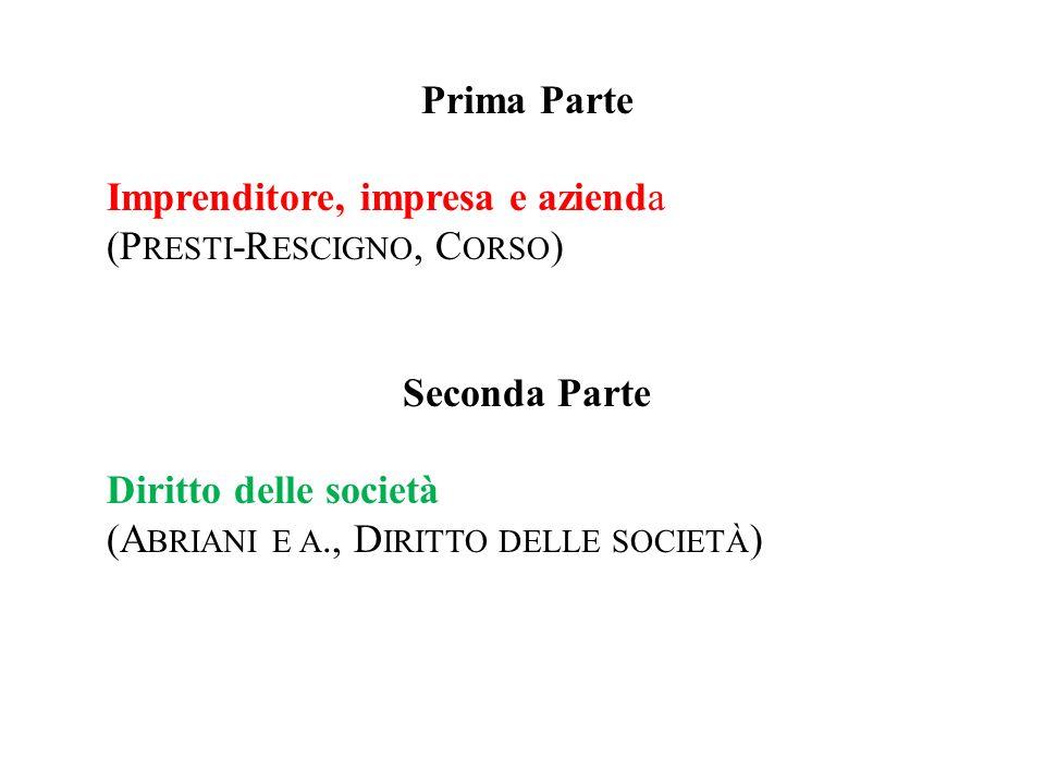 Prima Parte Imprenditore, impresa e azienda. (Presti-Rescigno, Corso) Seconda Parte. Diritto delle società.