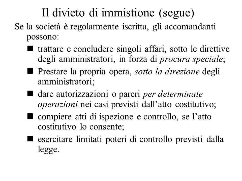 Il divieto di immistione (segue)
