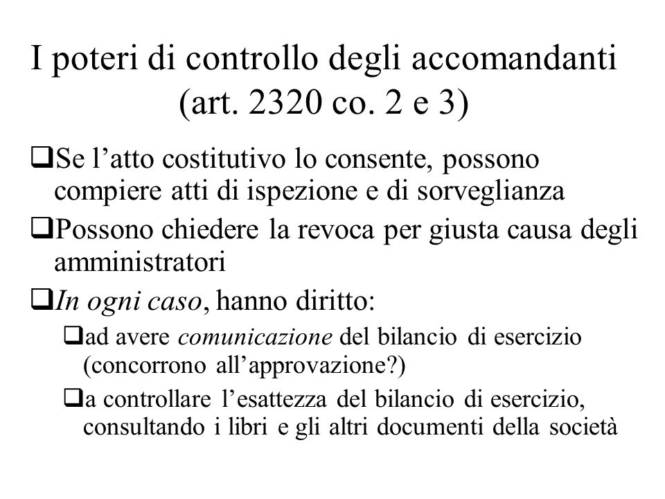 I poteri di controllo degli accomandanti (art. 2320 co. 2 e 3)
