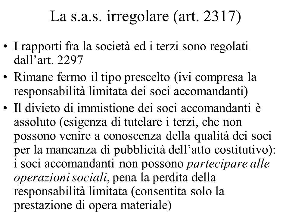 La s.a.s. irregolare (art. 2317)