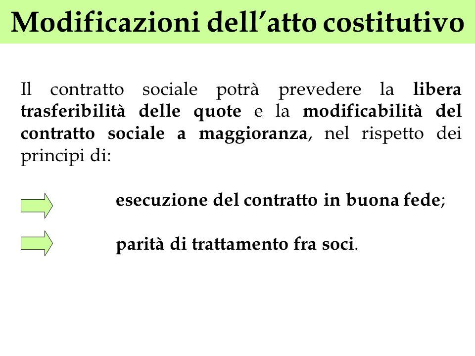 Modificazioni dell'atto costitutivo
