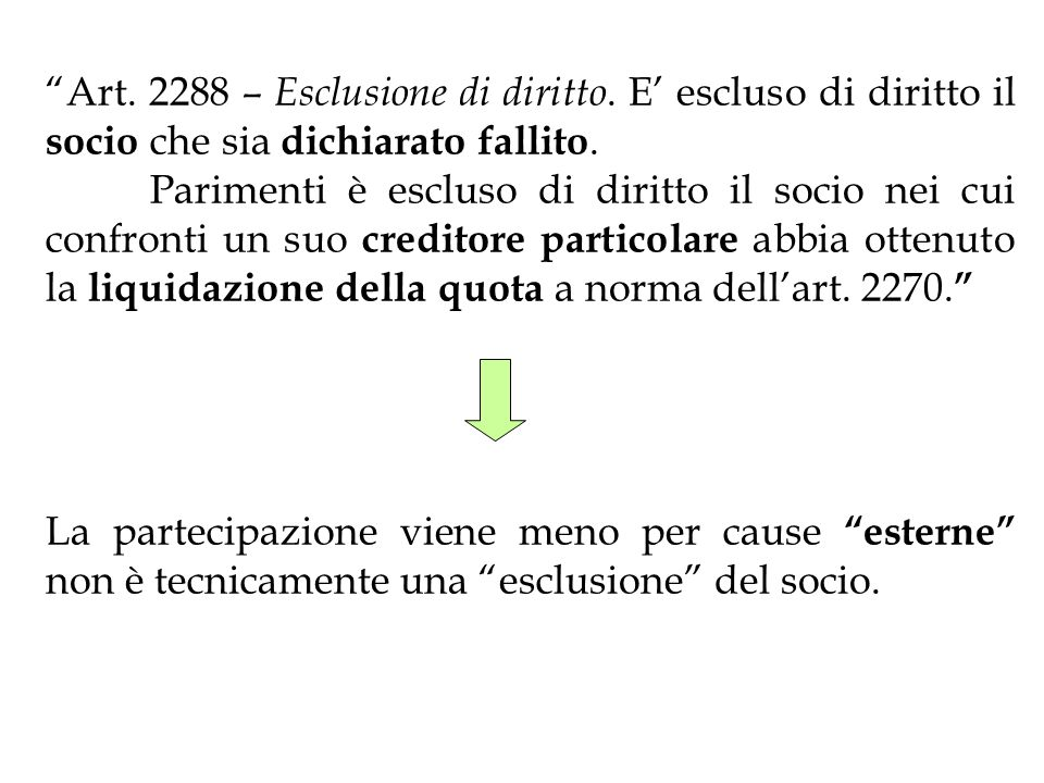 Art. 2288 – Esclusione di diritto