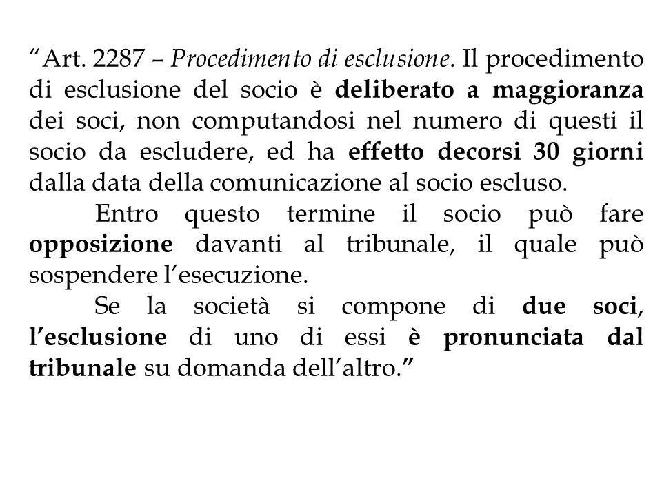 Art. 2287 – Procedimento di esclusione