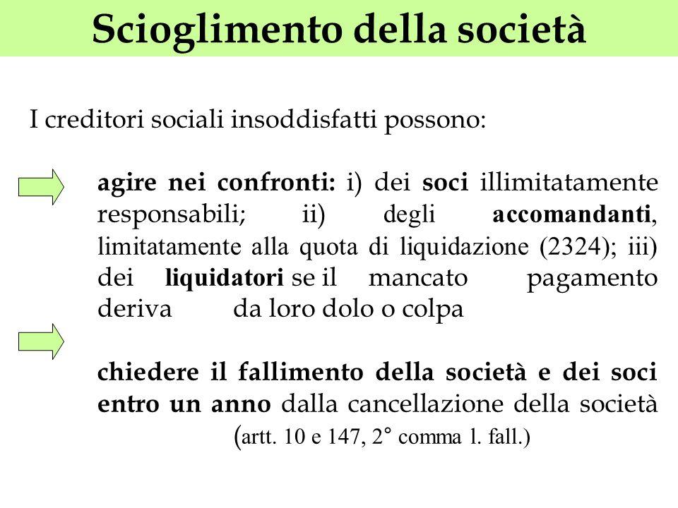 Scioglimento della società