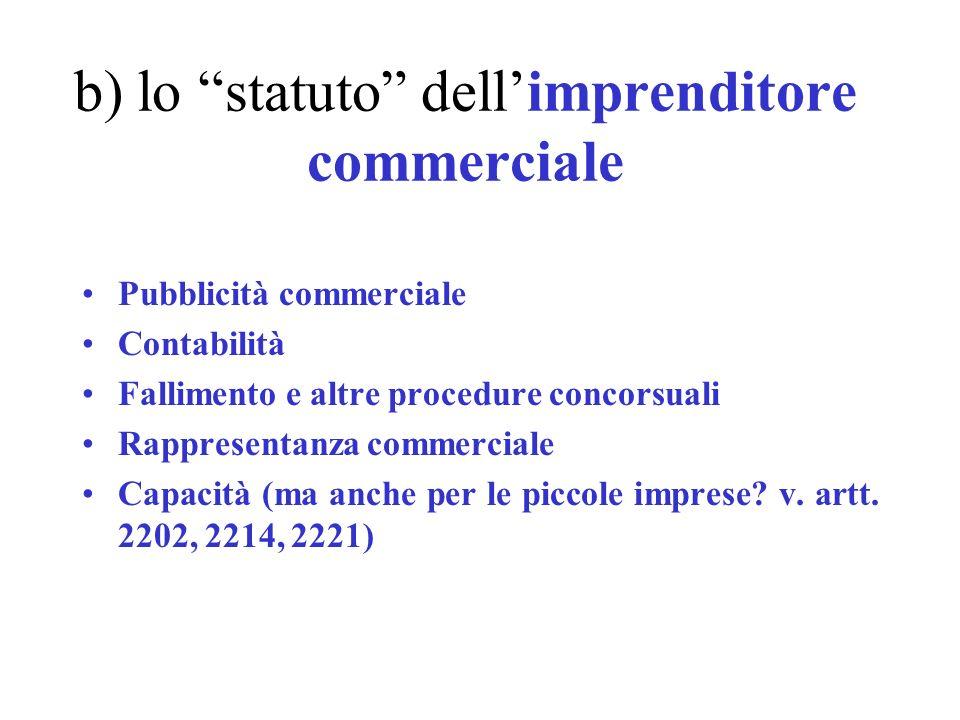b) lo statuto dell'imprenditore commerciale