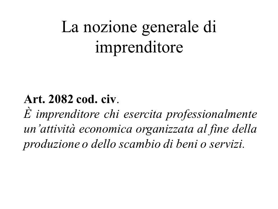La nozione generale di imprenditore