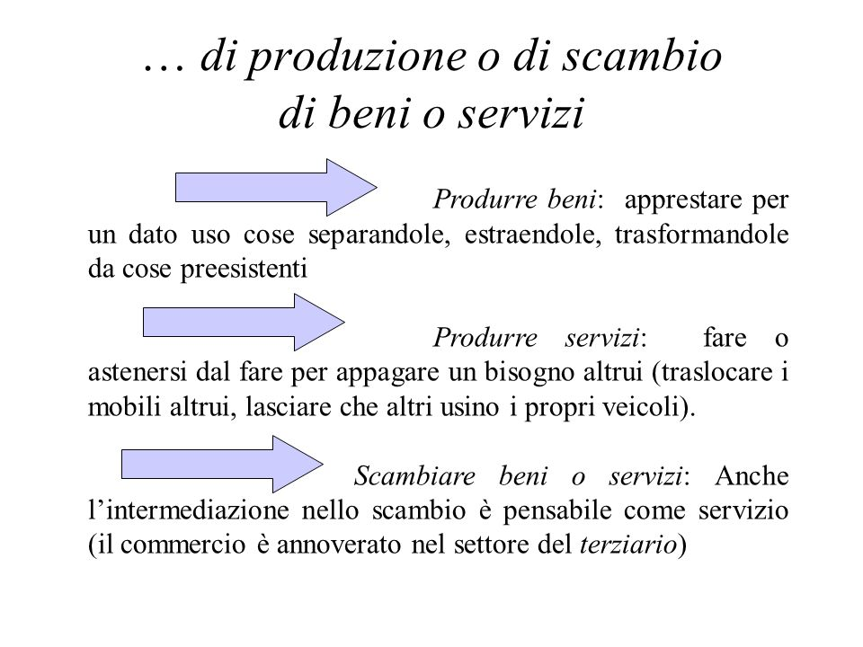 … di produzione o di scambio di beni o servizi