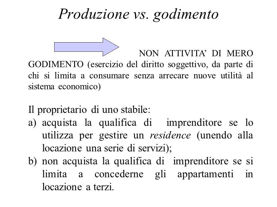 Produzione vs. godimento