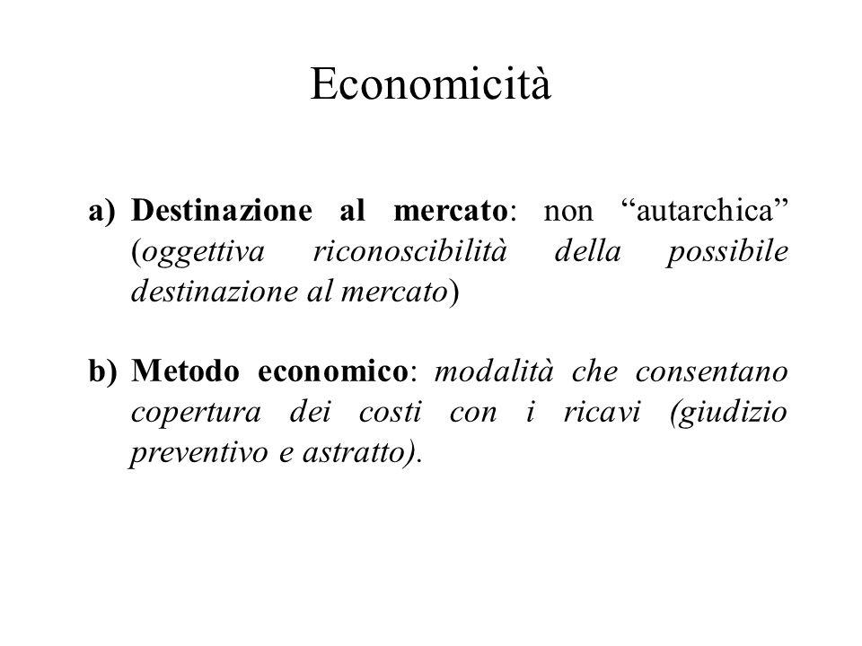 Economicità Destinazione al mercato: non autarchica (oggettiva riconoscibilità della possibile destinazione al mercato)