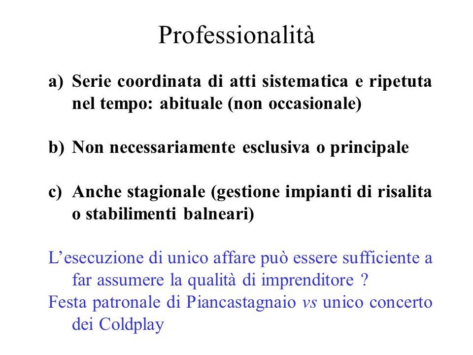 Professionalità Serie coordinata di atti sistematica e ripetuta nel tempo: abituale (non occasionale)