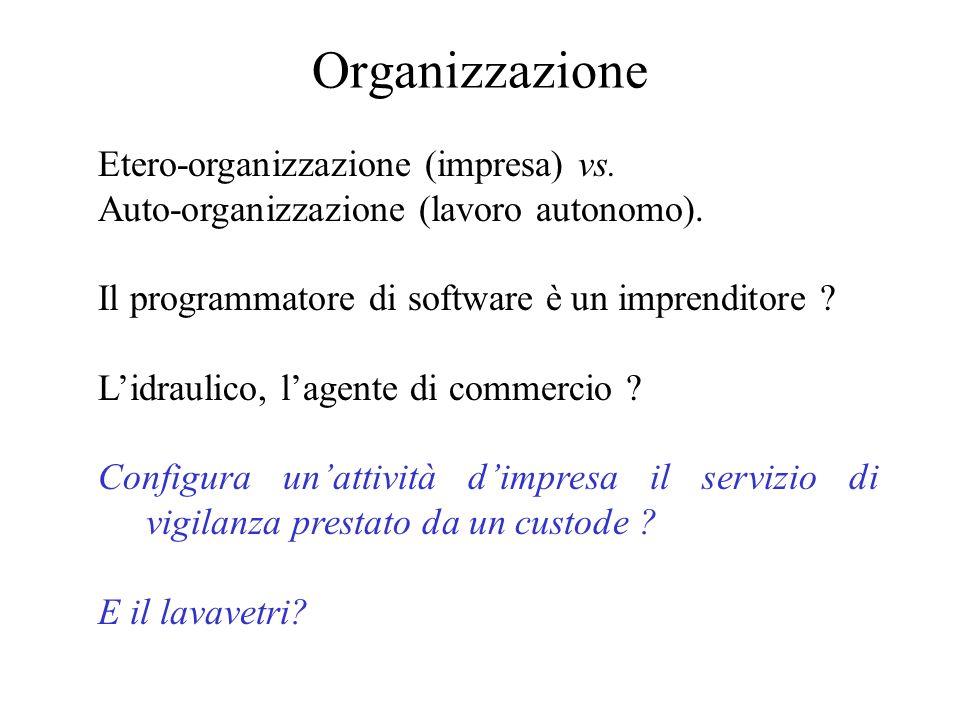 Organizzazione Etero-organizzazione (impresa) vs.