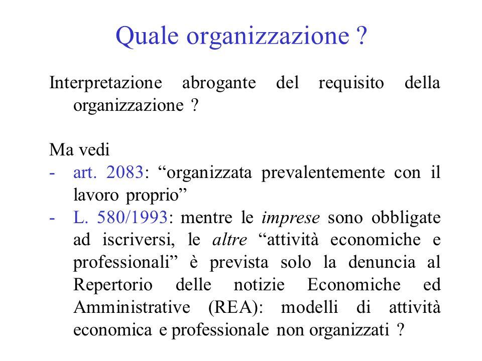 Quale organizzazione Interpretazione abrogante del requisito della organizzazione Ma vedi.