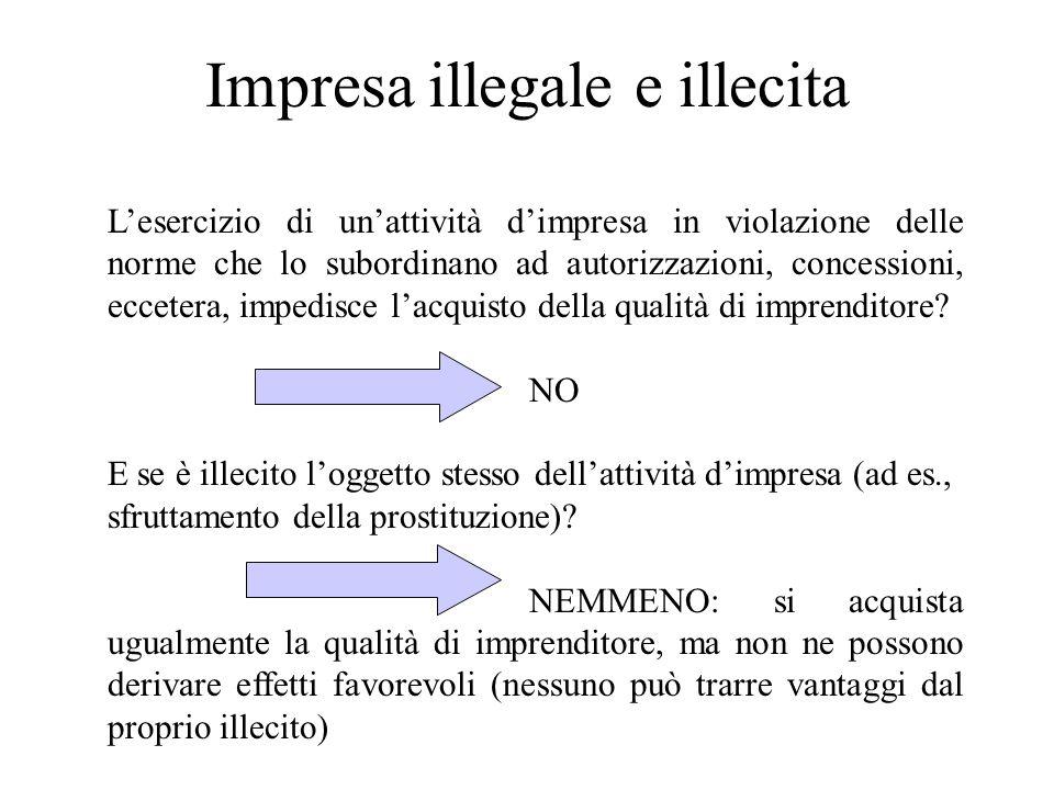 Impresa illegale e illecita