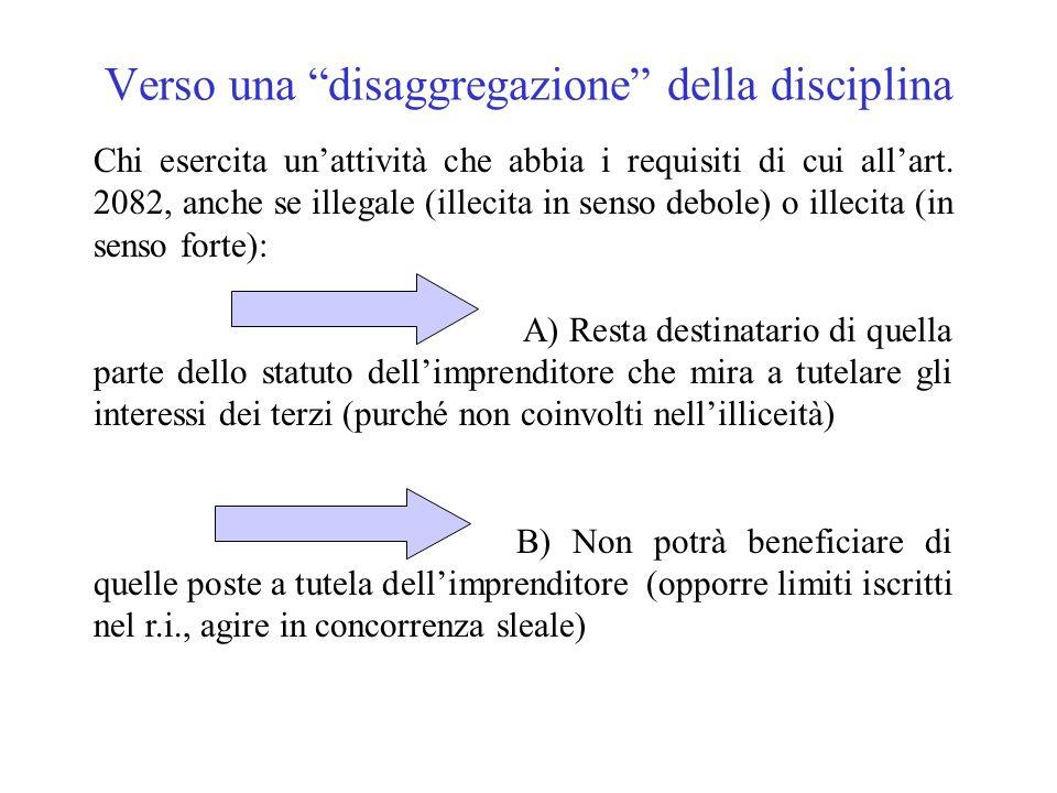 Verso una disaggregazione della disciplina