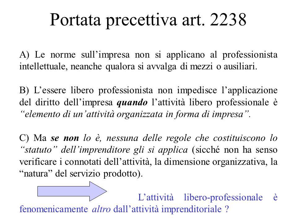 Portata precettiva art. 2238