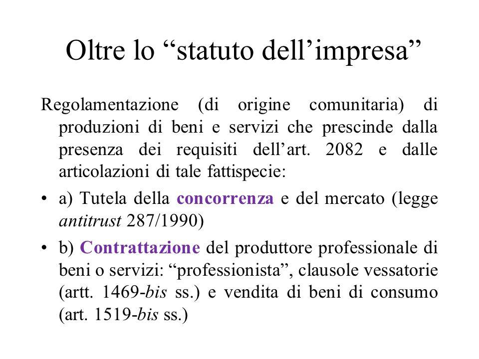 Oltre lo statuto dell'impresa