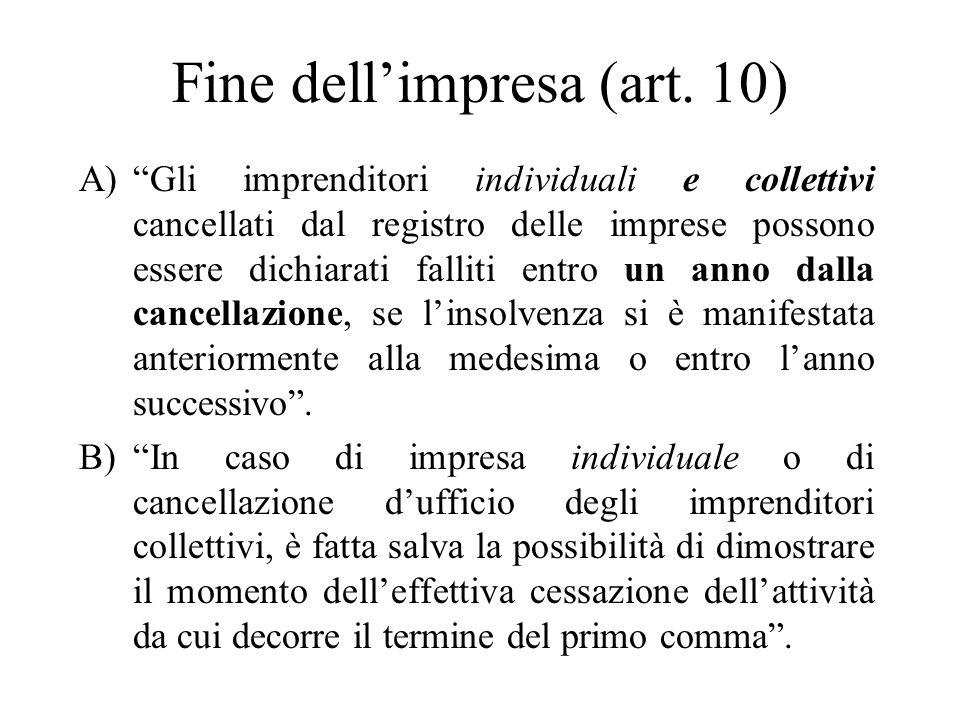 Fine dell'impresa (art. 10)