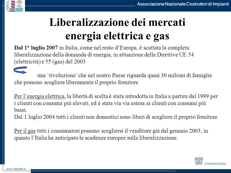 Liberalizzazione dei mercati energia elettrica e gas
