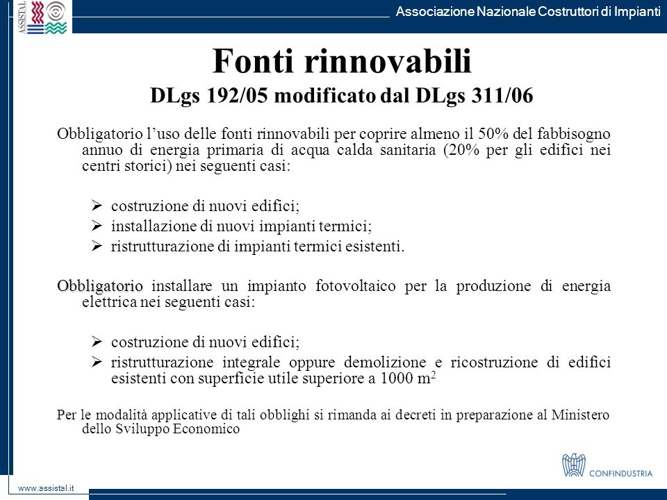 Fonti rinnovabili DLgs 192/05 modificato dal DLgs 311/06