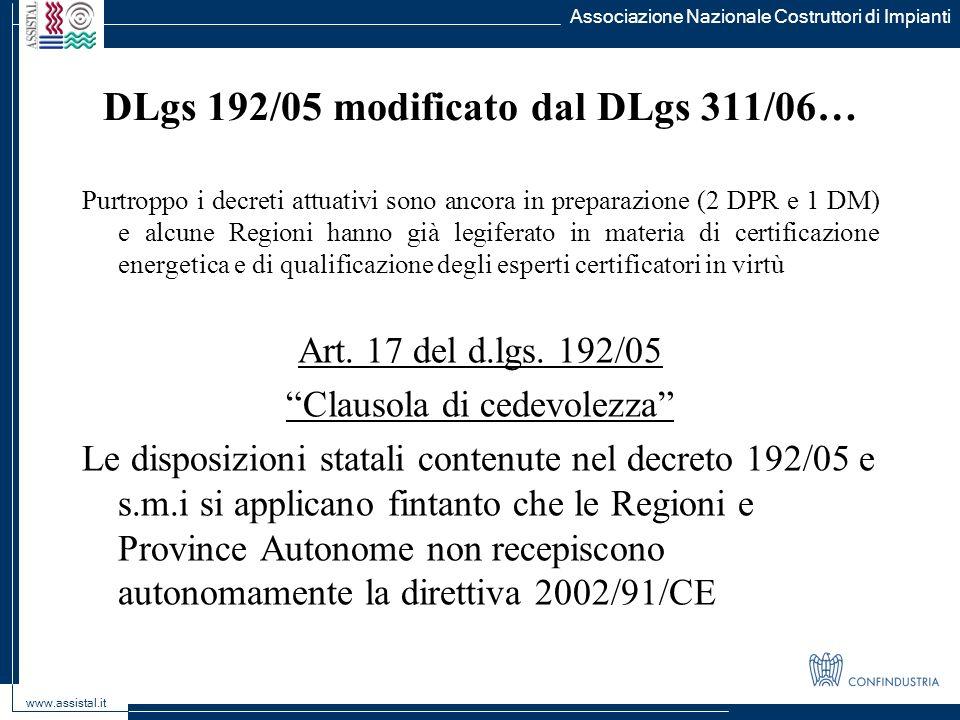 DLgs 192/05 modificato dal DLgs 311/06…