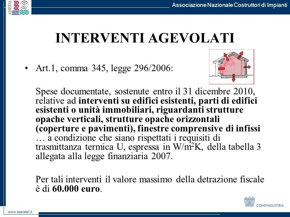 INTERVENTI AGEVOLATI Art.1, comma 345, legge 296/2006:
