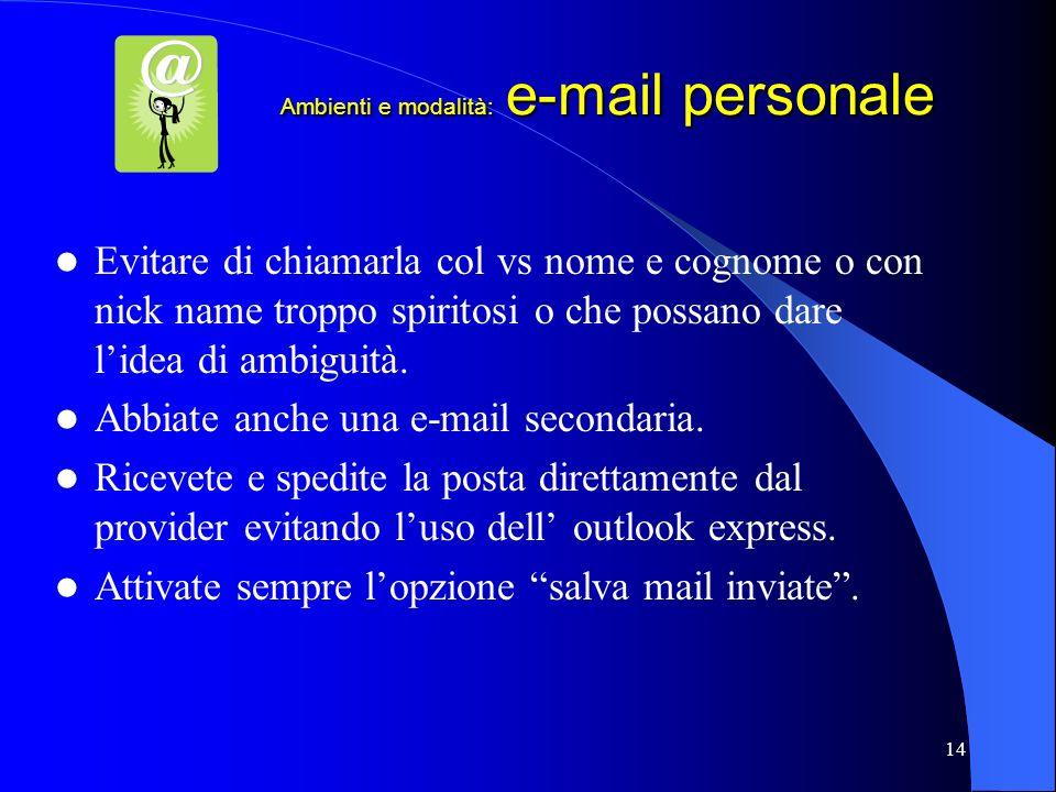 Ambienti e modalità: e-mail personale