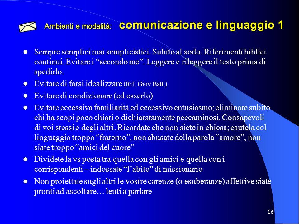 Ambienti e modalità: comunicazione e linguaggio 1