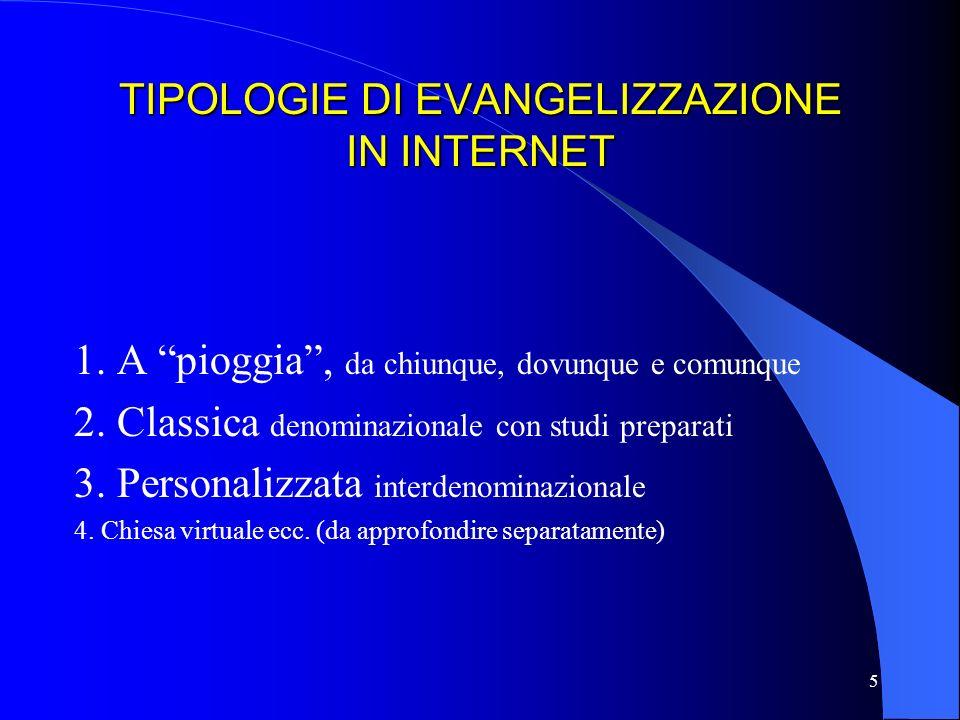 TIPOLOGIE DI EVANGELIZZAZIONE IN INTERNET