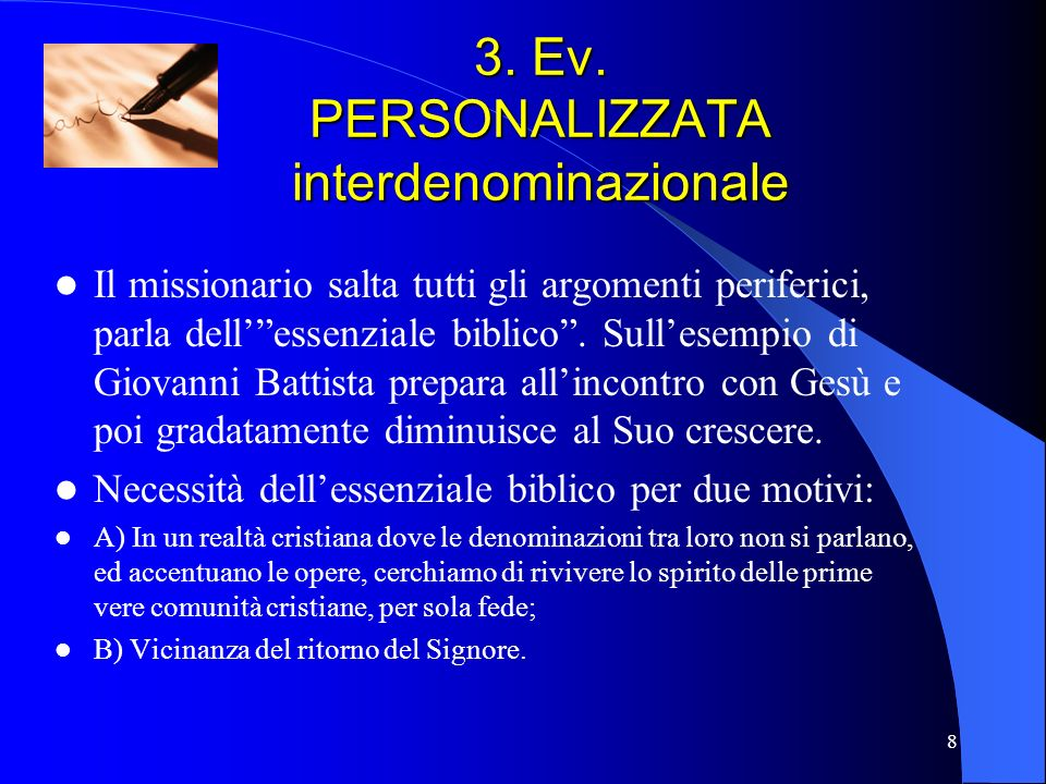 3. Ev. PERSONALIZZATA interdenominazionale