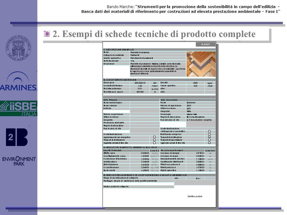 2. Esempi di schede tecniche di prodotto complete