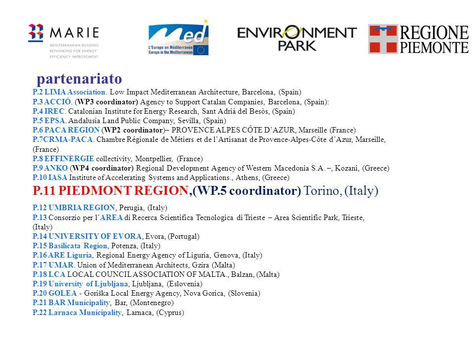 partenariato P.11 PIEDMONT REGION,(WP.5 coordinator) Torino, (Italy)